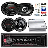 Kenwood KDC118 Car CD Player Receiver AUX Radio - Bundle Combo With 2x JVC 6x9'' 3-Way Vehicle Coaxial Speakers + 2x 6.5'' Inch 2-Way Audio Speakers + 4-Channel Amplifier + Amp Kit