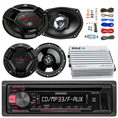 "Kenwood KDC118 Car CD Player Receiver AUX Radio - Bundle Combo With 2x JVC 6x9"" 3-Way Vehicle Coaxial Speakers + 2x 6.5"" Inch 2-Way Audio Speakers + 4-Channel Amplifier + Amp Kit"