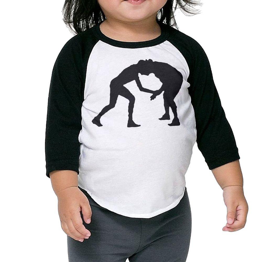 Wrestling Men Girls Baseball Tee Shirt Boy's 3/4 Sleeves Raglan Toddler Tops