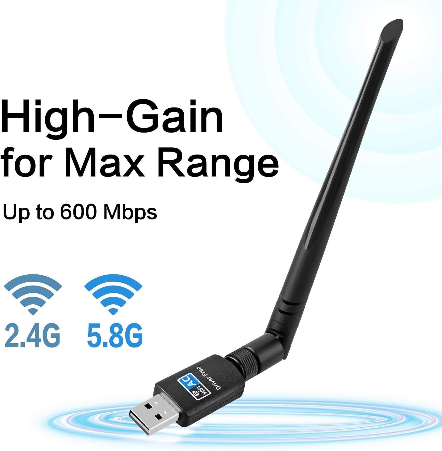 WiFi Adapter for PC 600Mbps,802.11ac USB Wireless Network Adapter with Dual Band 2.4GHz//5.8GHz 5dBi High Gain Antenna for Desktop Compatible with Windows 10//8//7//Vista//XP Mac OS