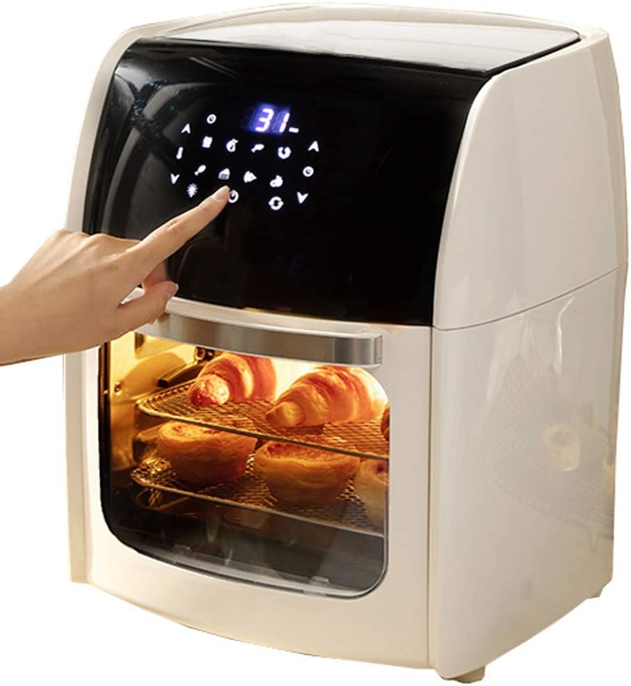 Air Fryer Toaster Oven 10L,3 Layers Countertop Convection Oven with Air Fry Air Roast Toast Broil Bake Function for Fried Chicken, Steak, Fries, Tater Tots (Color : White, Size : 220V)