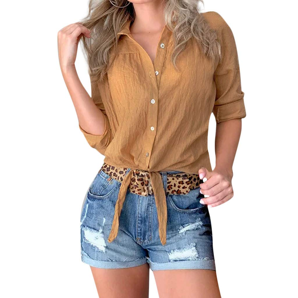 TWGONE Knot Front Crop Top For Women Summer Long Sleeve Chiffon Button Blouse(X-Large,Yellow)