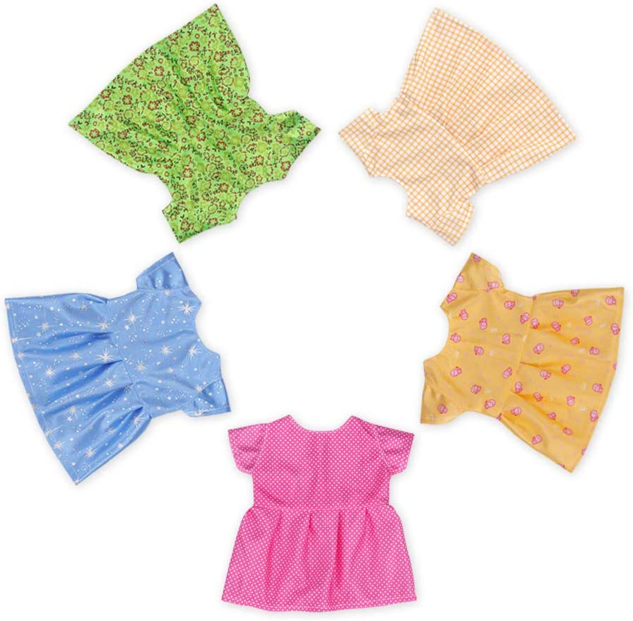 WakaoFeeling 5 Pieces Baby Doll Clothes for 14 -15 Inch Alive Baby Dolls,Dresses Clothing Outfits for Girl Doll and Soft Body Doll (Set-1)