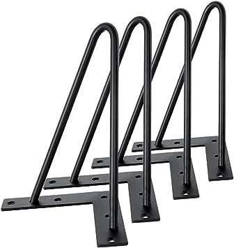 color negro Patas de horquilla para mesa 4 unidades, 2 varillas