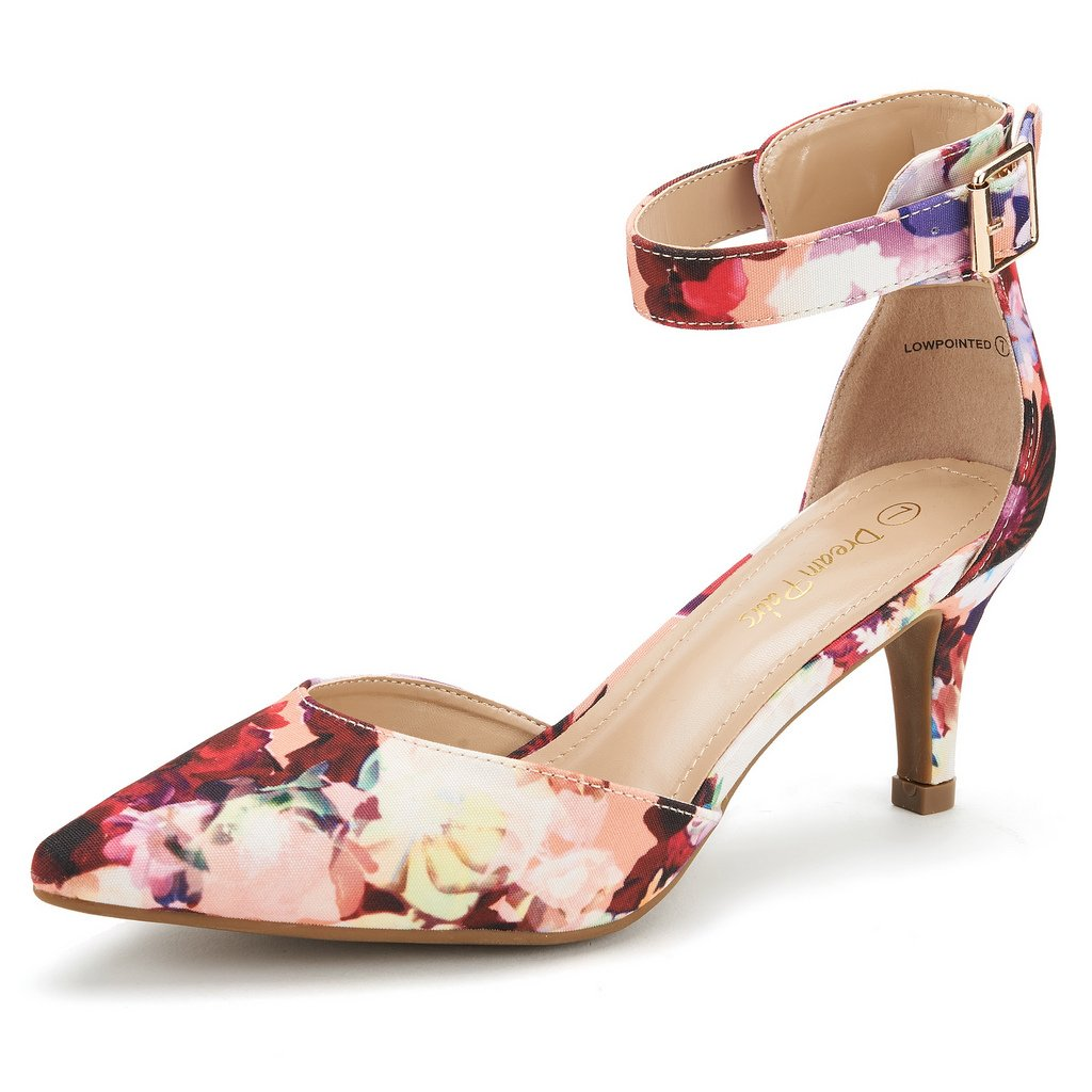 DREAM PAIRS Women's Lowpointed Floral Low Heel Dress Pump Shoes - 7 M US