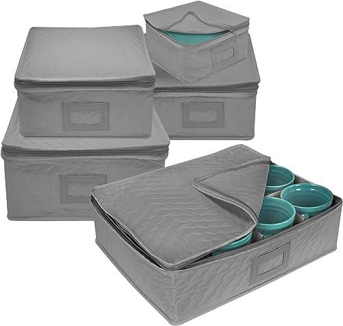 Sorbus 5-Piece Dinnerware Storage Square Set