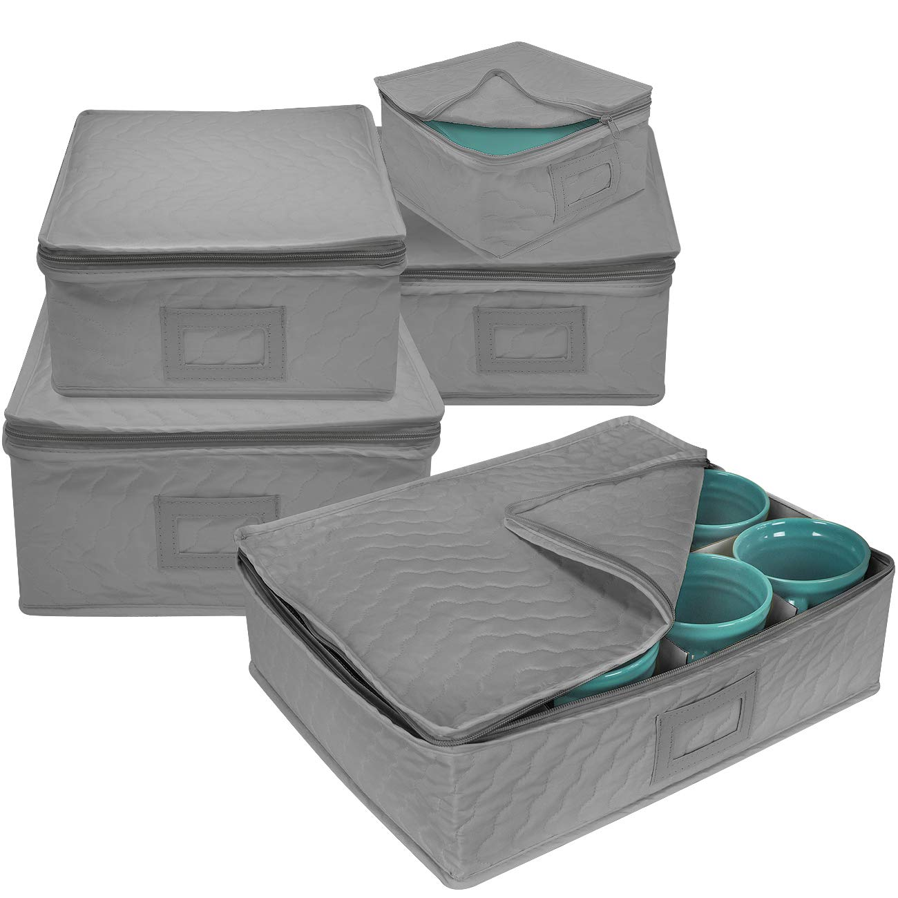 Sorbus 5-Piece Dinnerware Storage Square Set, Service for 12, Quilted Protection, Includes Felt Protectors and Cardboard Dividers for Plates, Cups, Fine China (Square Storage - Gray)