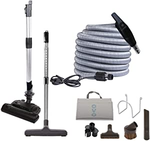 OVO Muti Brush Set-50ft Vac Dual Votage Switch Control Hose with Pigtail Central Vacuum Attachment Kit with 6 Heights Adjustable Electric Carpet Beater, 50ft, Black and Grey