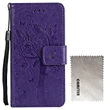Camiter Purple Tree and Cat Design Folio Leather Stand Protective Skin Cover Case For Motorola Moto G(2nd Generation)(Build in Stand Function /Card Slot) + Free Cleaning Cloth
