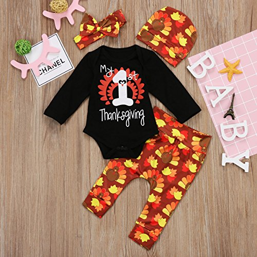 0bfb07856df Miward Thanksgiving Outfit Newborn Baby Boy Girl Letter Print Romper Turkey  Print Pant Hat Headband 4pcs