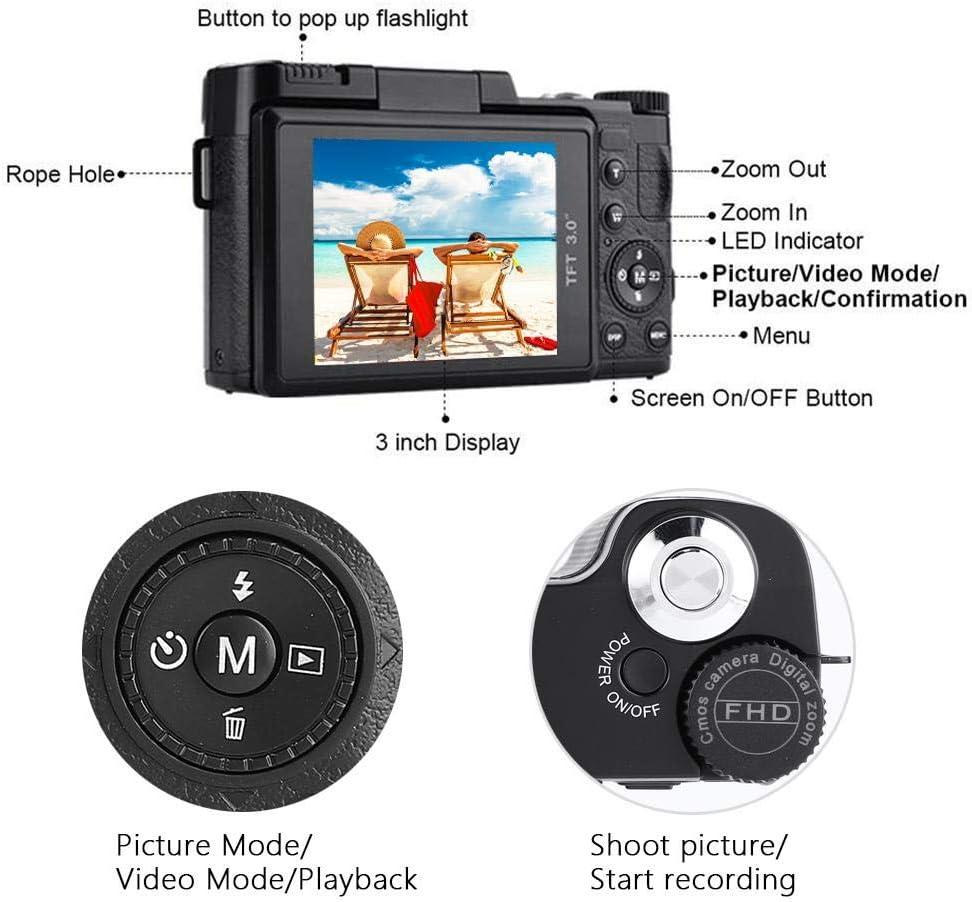 Zoom /óptico 4X Diyeeni C/ámara de Video Digital WiFi 1080P C/ámara compacta Full HD con 24 megap/íxeles Mini videoc/ámara con c/ámara Digital Admite Tarjeta TF de hasta 32 GB Pantalla TFT de 3 Pulgadas