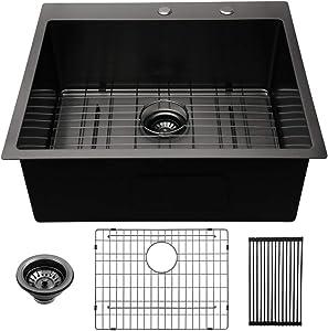 25 Kitchen Sink Drop-in - Lordear 25 x 22 inch Drop-in Topmount Kitchen Sink 16 Gauge Stainless Steel Gunmetal Matte Black Single Bowl Bar Prep Kitchen Sink Basin