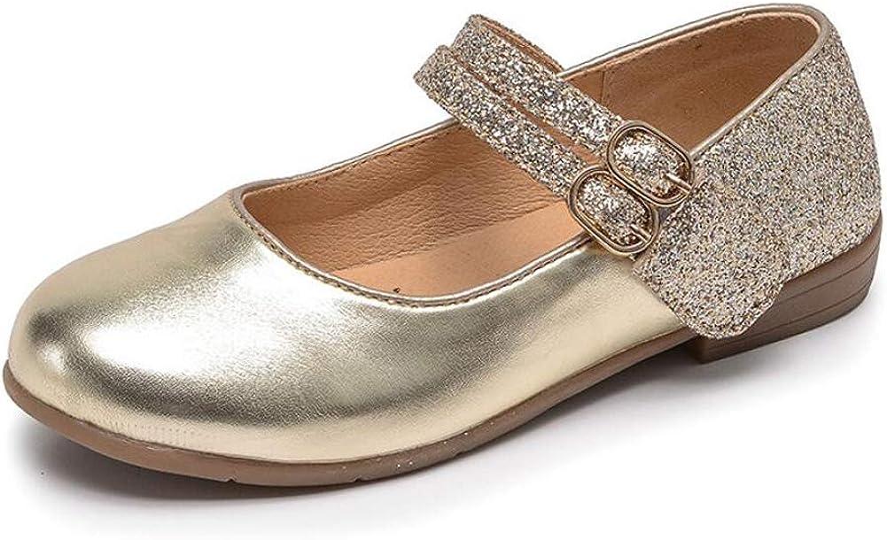Otamise Leather Round-Toe Sparkle Ballet Flat Shoe Fashion Mary Jane Party Dress Shoe Toddler//litttle Kid//Big Kid