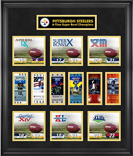 Pittsburgh Steelers Framed Super Bowl Replica Ticket & Score Collage - Limited Edition of 1000 - NFL Ticket Plaques and ()