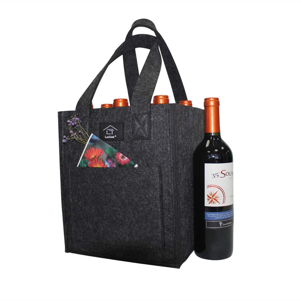 Porta Bottiglie Portabiberoni in Feltro, Spessa Lavabile Riutilizzabile con Divisorio Rimovibile, Borsa Regalo Vino per Picnic BBQ Party
