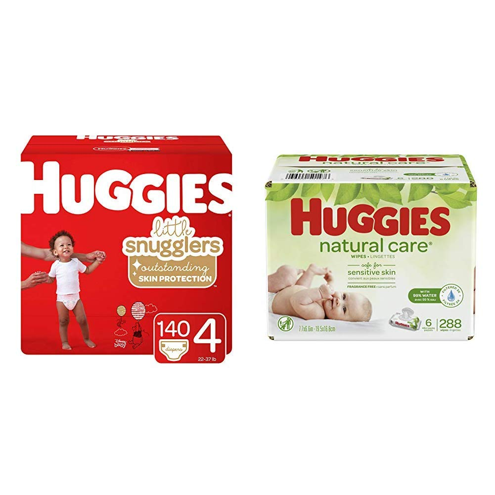 BUNDLE HUGGIES Little Snugglers Baby Diapers, Size 4, 140 Count & HUGGIES Natural Care Unscented Baby Wipes, Sensitive, 6 Disposable Flip-top Packs (288 Total Wipes)