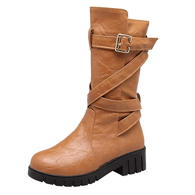 Zapatos Invierno Mujer Botas Altas para Mujer Zapatos de tacón Cuadrado  para Mujer Hebilla Mediana con Botas Martin Zapatos de Punta Redonda Botas  Militares ... fa14c28fdf87