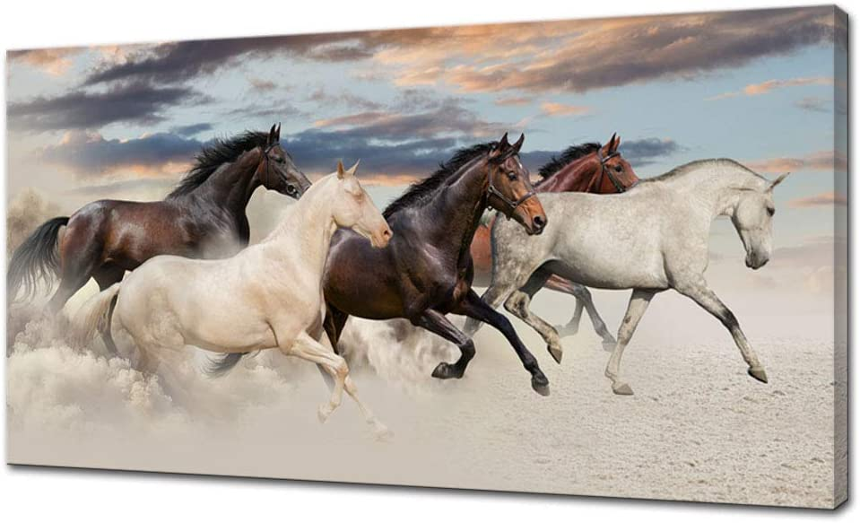 Artsbay Large Canvas Wall Art Running Horse Wildlife Artwork Picture Animal Painting for Living Room Bedroom Office Modern Home Decor Framed Giclee Print Gallery Wrap 24x48inch