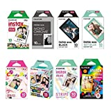 Fujifilm Instax Mini Instant Film 8-SET , Monochrome + Black + Sky Blue + Single + Candy Pop + Stained Glass + Stripe + Rainbow +  Sticker for Mini 90 8 70 7s 50s 25 300 Camera SP-1 Printer