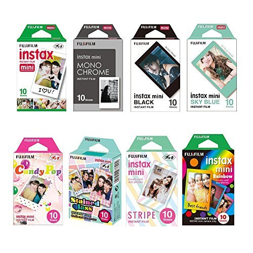 Fujifilm Instax Mini Instant Film 8-SET , Monochrome + Black + Sky Blue + Single + Candy Pop + Stained Glass + Stripe + Rainbow +  Sticker for Mini 90 8 70 7s 50s 25 300 Camera SP-1 Printer by Fujifilm