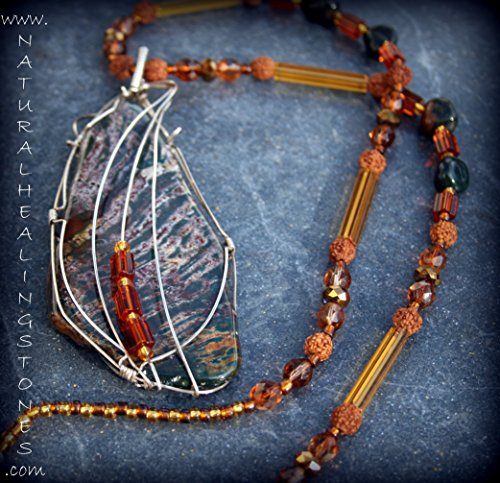 28 in. necklace with a large, wire wrapped bloodstone jasper pendant. Necklace portion is made of bloodstone jasper, Czech glass and Rudraksh beads. (Shiva's Tear Drops)