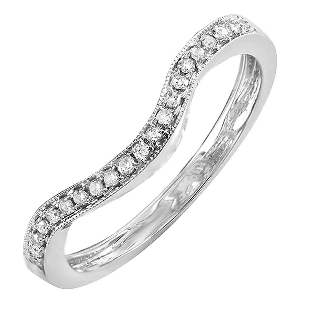 Dazzlingrock Collection 0.15 Carat (ctw) 14K Round White Diamond Ladies Wedding Contour Guard Ring, White Gold, Size 5.5 by Dazzlingrock Collection