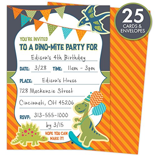 Dinosaur-Party-Invitations-for-Kids-Birthdays-or-Baby-Showers-Set-of-25-Cards-and-Envelopes-Colorful-Fill-In-Style-For-Boys-and-Girls-5-x-7-Printed-on-Heavy-140lb-Card-Stock
