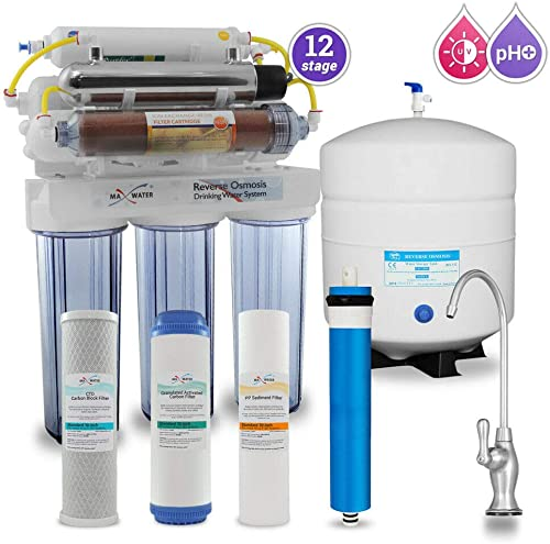 Max Water 12 Stage Home Reverse Osmosis System Reverse Osmosis Water Filtration System RO System Under Sink RO Water Purifier 50 GPD RODI System