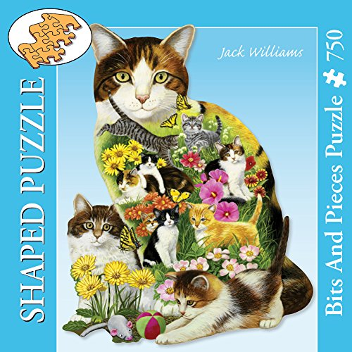Bits and Pieces - 750 Piece Shaped Jigsaw Puzzle for Adults - Calico Cat - 750 pc Cats, Kittens, Flowers