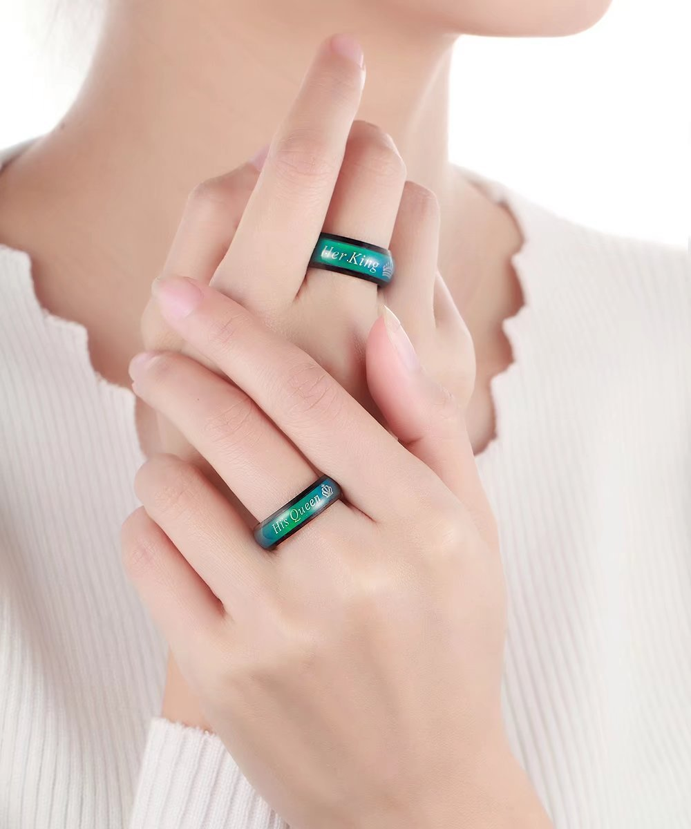 Amazing Mood Ring For Her King His Queen Titanium Color-Changing ...
