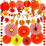 Supla 40 Pack Fall Party Decorations Set - Includes Autumn Hanging Paper Fans Pom Poms Fall Maple Leaves Party Swirls Streamers Fall Banner Backdrop Garland String for Thanksgiving Wedding Birthday