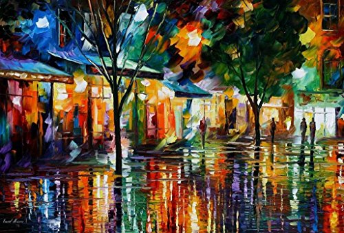 NIGHT SHOPS is an OVERSIZED, ONE-OF-A-KIND, ORIGINAL OIL PAINTING ON CANVAS by Leonid - Shop Oversize