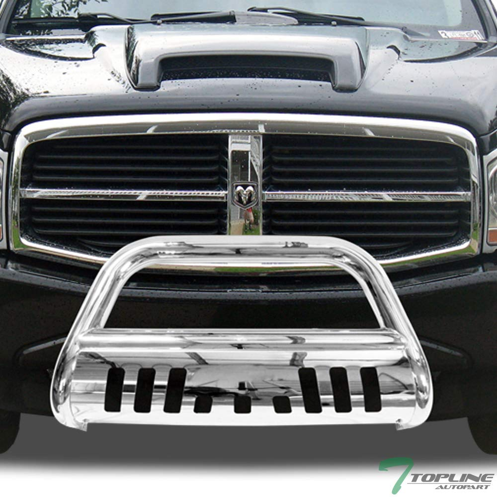 Topline Autopart Polished Stainless Steel Bull Bar Brush Push Front Bumper Grill Grille Guard With Skid Plate For 04-09/10 Dodge Durango ; 06/07-09 Chrysler Aspen Topline_autopart