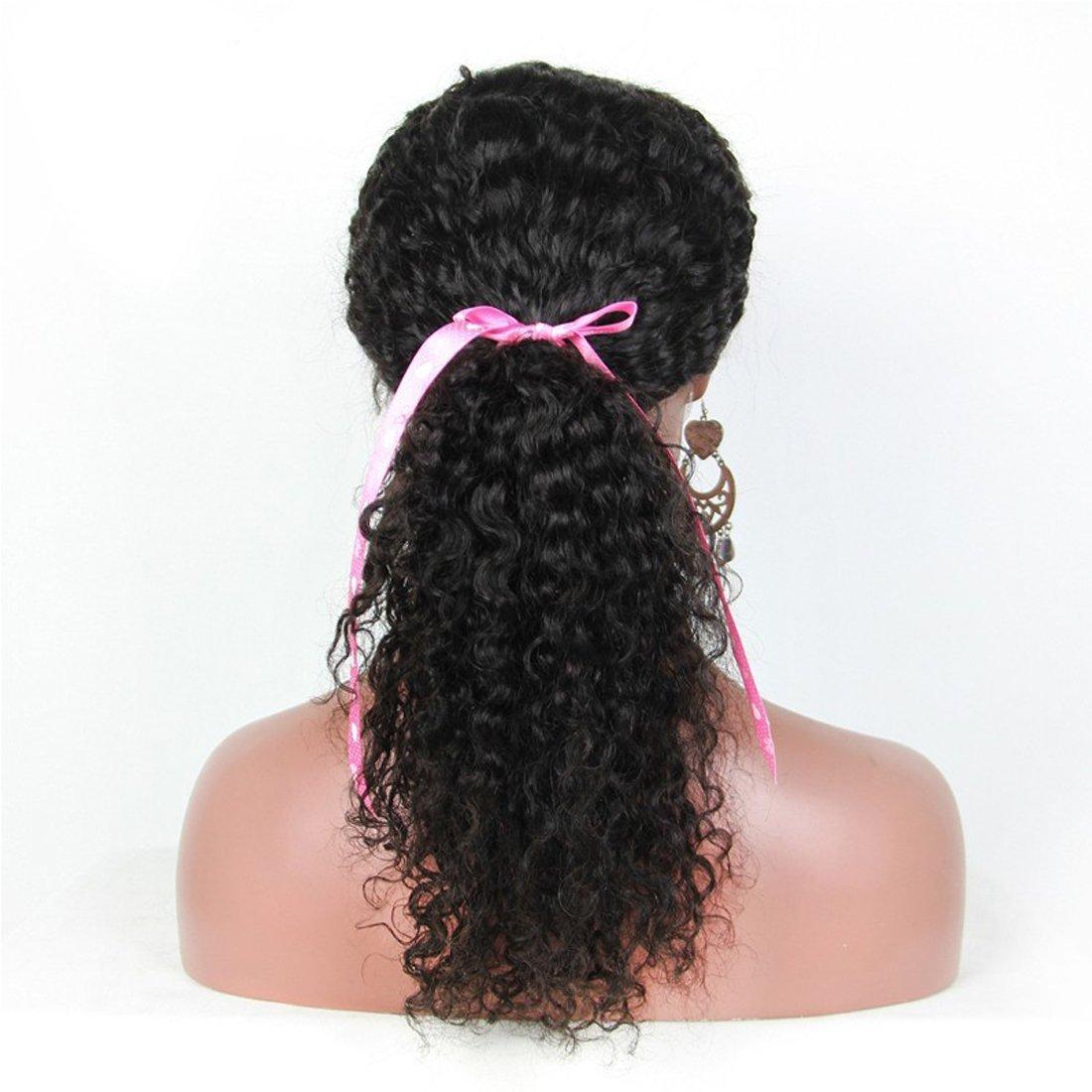 Echo Beauty Top 8A Peruvian Virgin Human Hair Lace Front Wigs for Black Women Curly Wave Handmade Human Hair Wigs Natural Color Medium Cap 20''