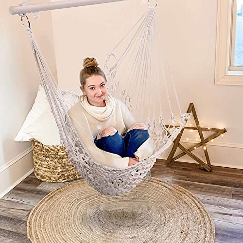KAW Hammock Swing Chair with Sturdy Wood Bar, Soft Cotton Rope,250lbs Capacity for Backyard Indoor Outdoor Bedroom.