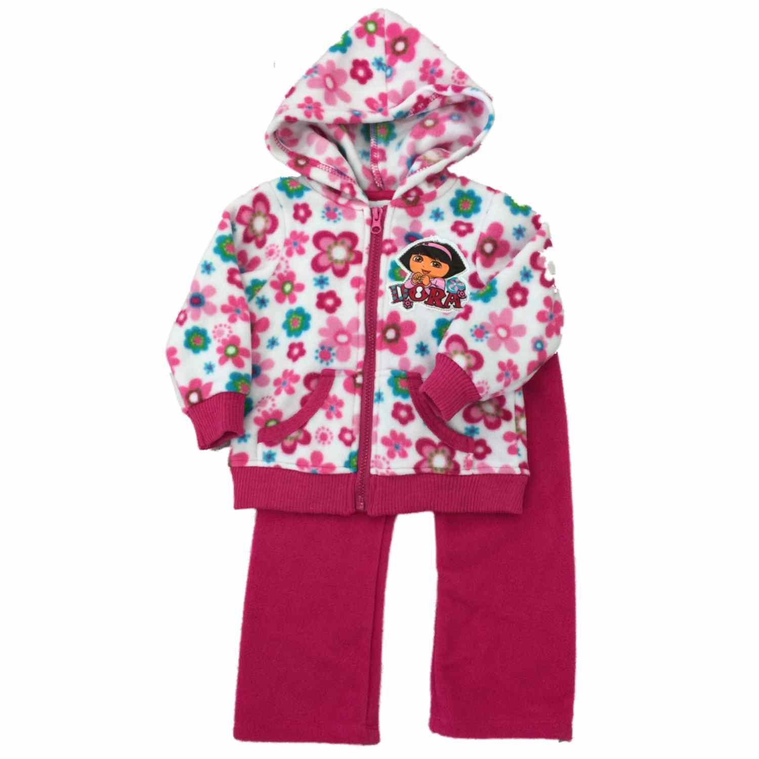 Amazon.com  Infant Toddler Dora Explorer Girls Fleece Jogger Hoddie  Sweatsuit Outfit 2T  Clothing acb30b370146
