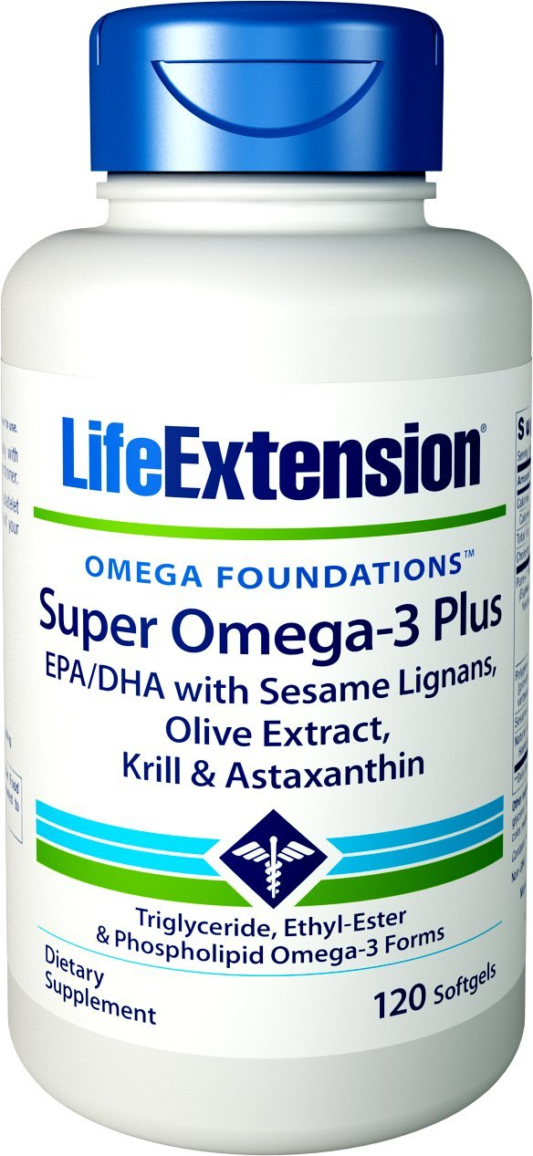 Life Extension Super Omega-3 Plus EPA/DHA With Sesame Lignans, Olive Extract, Krill and Astaxanthin, 120 Softgels by Life Extension