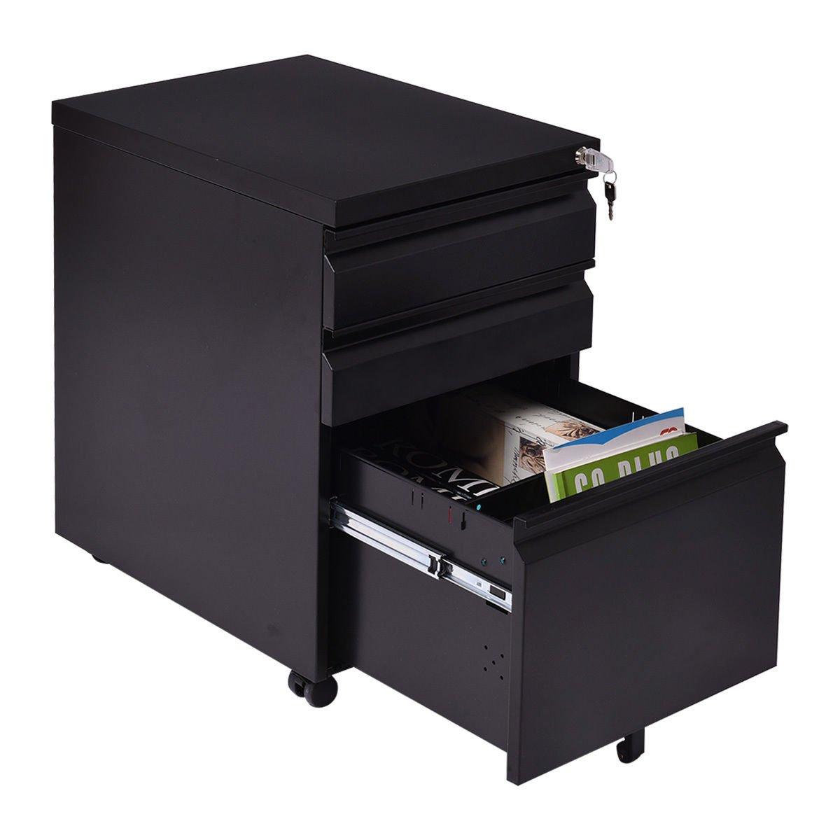 Black 3 Drawer Rolling Mobile File Pedestal Storage Cabinet Steel Home Office