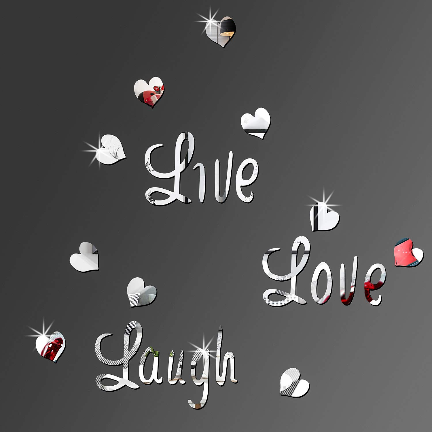 BBTO DIY Silver Live Laugh Love Heart Mirror Combination 3D Mirror Wall Stickers Home Decoration (Silver Live Laugh Love Heart)