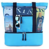 blue sky BASICS MALIBU Beach Bag – 2 in 1 Mesh Beach Tote Bag with Cooler + Free Beach Gift For Sale