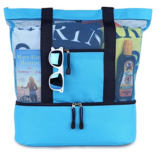 blue sky BASICS MALIBU Beach Bag - 2 in 1 Mesh Beach Tote Bag with Cooler + Free Beach Gift