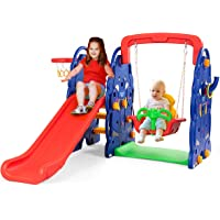 HONEY JOY Toddler Climber and Swing Set, 4-in-1 Indoors & Outdoors Playset with Junior Basketball Hoop , Ring Toss Game