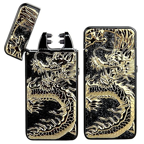 Pard Relief Dragon Windproof Cross Arc Lighter, USB Rechargeable Flameless Electronic Pulse Arc Cigarette Lighter, (Cross Cigarette Lighter)