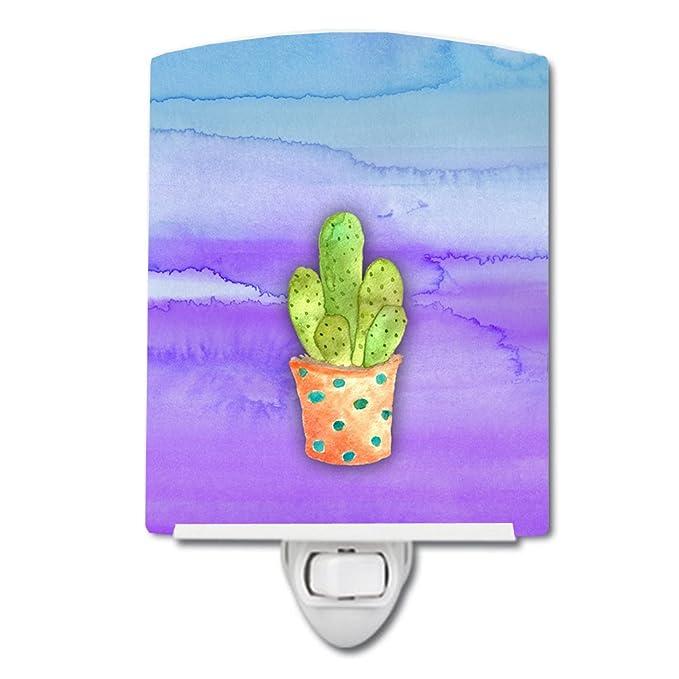 6 x 4 Green and Brown Carolines Treasures Cactus Watercolor Ceramic Night Light Multicolor