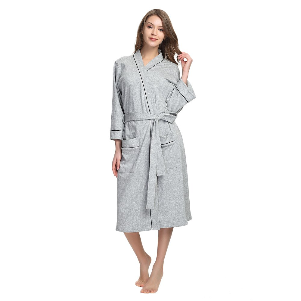 Grey Mel. M&M Mymoon Womens Cotton Robe Soft Kimono Spa Knit Bathrobe Lightweight Long