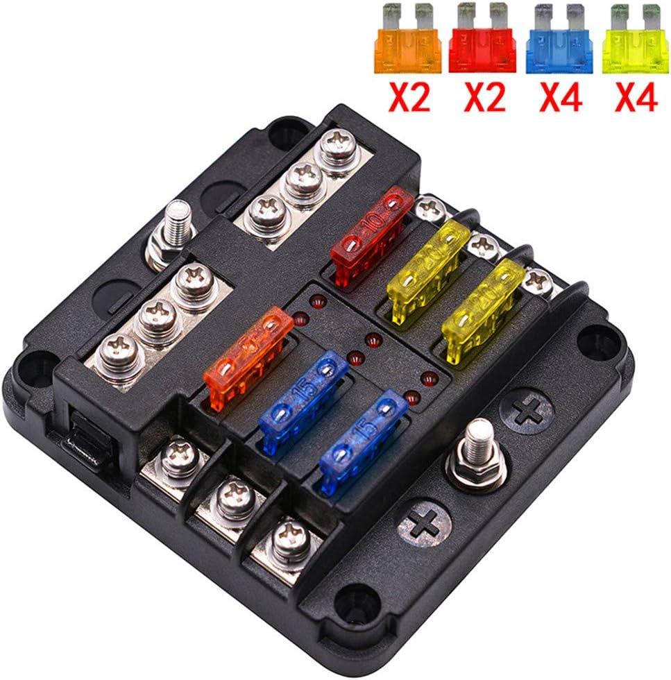amazon co uk car fuses Old Fuse Box Wiring umisky 6 way fuse box blade fuse blocks with led warning indicator damp proof