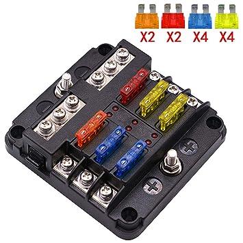 umisky 6 way fuse box blade fuse blocks with led warning indicator rh amazon co uk Camper Fuse Panel Auto Fuse Panel
