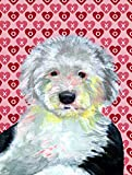 Caroline's Treasures LH9171CHF Old English Sheepdog Hearts Love and Valentine's Day Canvas House Flag, Large, Multicolor For Sale