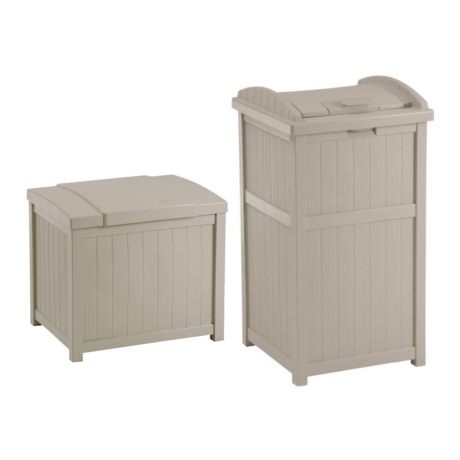 Suncast 22-Gallon Resin Deck Box, Light Taupe w/ 30-33 Gallon Trash Can Hideaway