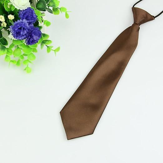 BINGHONG3 - Corbata elástica para niños y niñas, Color Liso marrón ...